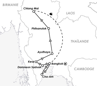 carte map voyge thailande