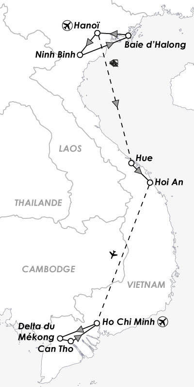 carte map circuit hanoi halong